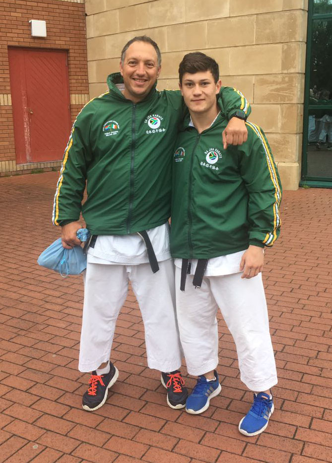 Sensei Chris and his sensei Pano wills at the World Championships in Ireland 2016