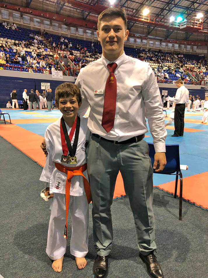 Sensei Chris and His student Andoni after he won medals at the SAJKA national Championships