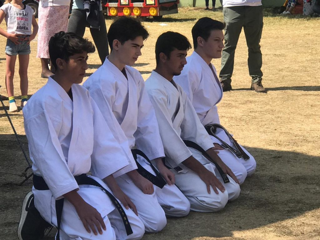 Caption: Sensei Chris and his demonstration team at the sunninghill Garden festival