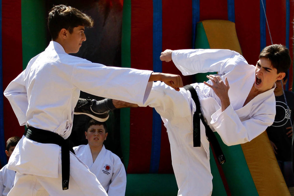 Two students demonstrating fighting techniques at the Sunninghill garden festival