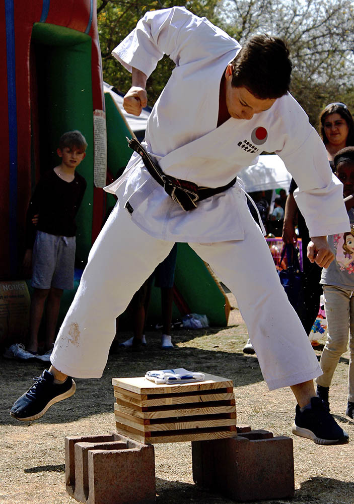A tameshiwari demonstration by Sensei Chris
